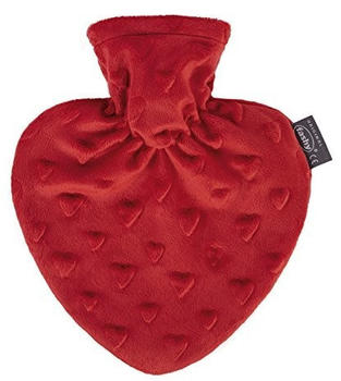 Fashy Heart Hotwater Bottle with Cover Red