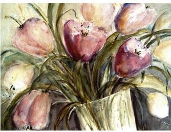 Art-Land Lila Tulpen in Vase 60 x 80 cm