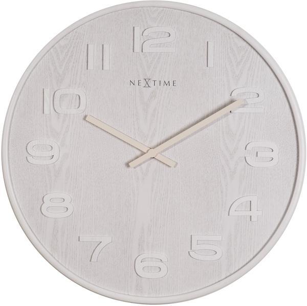 Nextime Wall Clock Wood Big weiß (Nex012900)