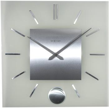 nextime-wall-clock-stripe-pendulum-square-weiss-grau-3146
