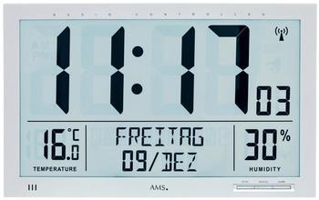 AMS Digitale Funk Wanduhr Thermometer Hygrometer Kunststoff silber Neu