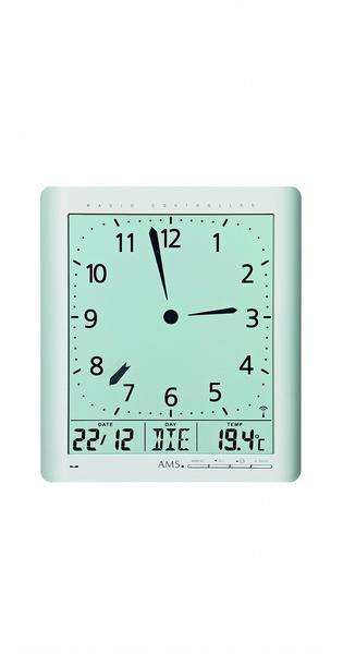 AMS 5898 Wanduhr Tischuhr Funk digital silbern Datum Thermometer Weckfunktion