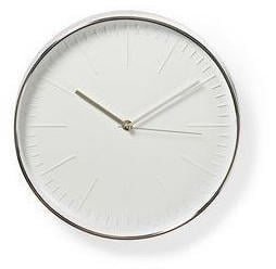 Nedis Round Wall Clock White and Silver
