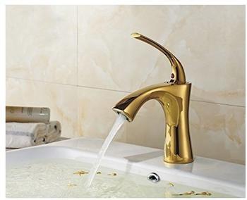 TSGPS Waschbecken Einhebel Wasserhahn Waschtischarmatur Einhebelmischer Armatur Gold