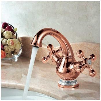 Sanlingo Retro Waschbecken Waschtischarmatur Armatur Wasserhahn Mischbatterie Zwei Griff Porzellan Rose Gold