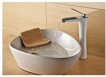 TSGPS Bad Waschbecken Waschschale Einhebelmischer Wasserhahn Armatur Weiß Weiss Chrom