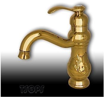 TSGPS Nostalgie Retro Bad Waschschale Waschbecken Einhebel Armatur Gold