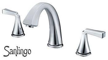 Sanlingo Badezimmer Bad 3Loch Waschschale Waschbecken Badewanne Armatur Chrom Sanlingo