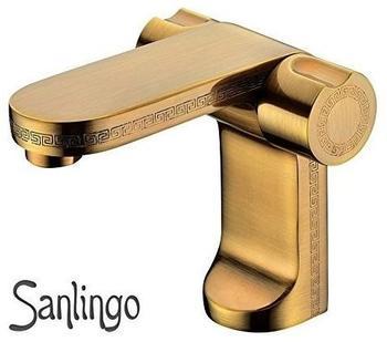 Sanlingo Antik Badezimmer Bad Waschbecken Armatur Wasserhahn Griechisches Design Muster Messing von Sanlingo
