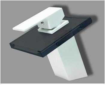 TSGPS Design Wasserfall Bad Einhebel Armatur Matt Weiß + Schwarzes Glas Eckig