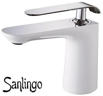 Sanlingo Bad Waschbecken Design Einhebel Armatur Wasserhahn Weiss Weiß Chrom Sanlingo