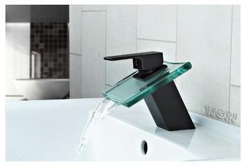 TSGPS Wasserfall Schwall Glas Armatur Schwarz brüniert Klargals Waschtisch Bad