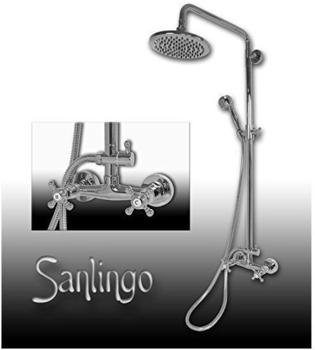 Sanlingo Nostalgie Retro Dusche Set Kreuzgriff Armatur Sanlingo Chrom