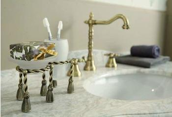 Casa Padrino Luxus Bad Zubehör - Jugendstil Retro Waschbecken Armatur Waschtisch Dreilochbatterie Altgold