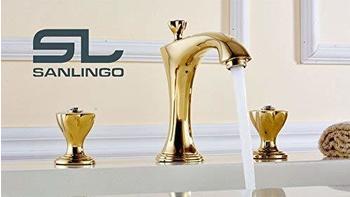 Sanlingo Gold Glas Kristall Retro Nostalgie 3 Loch Armatur Waschtisch Waschbecken Badewanne