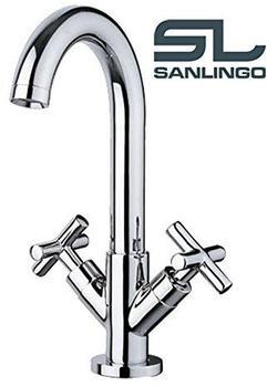 Sanlingo Design Bad Kreuzgriff Waschtisch Waschbecken Wasserhahn Armatur Chrom Sanlingo
