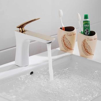 Sanlingo Waschtischarmatur Armatur Einhebel Wasserhahn Mischbatterie Gold Weiss Sanlingo