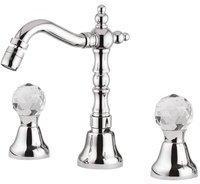 Casa Padrino Luxus Waschtisch Armatur mit Swarovski Kristallglas Silber H. 20 cm - Luxus Waschbecken 3-Loch-Armatur