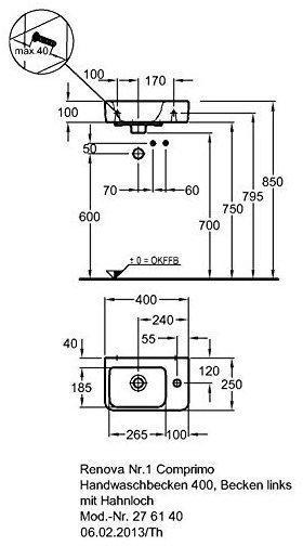 Keramag Renova Nr1 Comprimo Handwaschbecken 40 X 25 Cm 276140