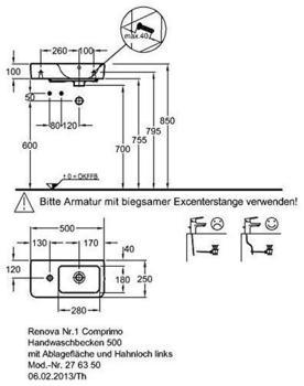 Geberit Renova Compact 50x25cm links (276350000)