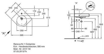 Geberit Renova Compact Eck69,5x61,5cm (226150000)