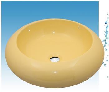 NEG Waschbecken Uno22A (rund), Aufsatz-Waschschale/Waschtisch (gelb) mit breitem Rand Nano-Beschichtung