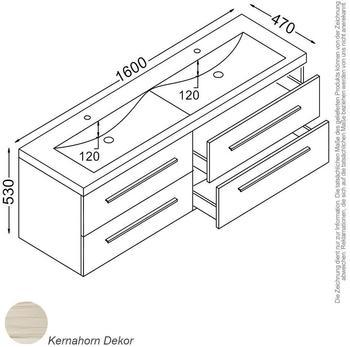 KZOAO Rom Waschtisch-Set 160 cm kernahorn