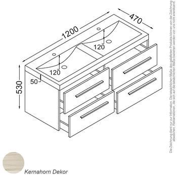 KZOAO Rom Waschtisch-Set 120 cm kernahorn