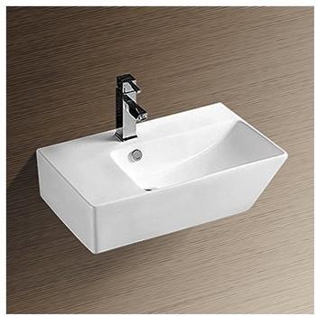 NEG Waschbecken Uno27H (groß/eckig/Armatur links) Hänge-Waschschale/Waschtisch (weiß) mit hohem Rand und Nano-Beschichtung