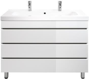 Emotion Stand Doppel Badmöbel Talis 100 weiß hochglanz mit drei grifflosen Schubladen (TALIS100STANDDOPPEL000101)