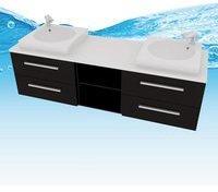 AcquaVapore Waschtisch mit Waschbecken, Unterschrank City 307 160cm Esche schwarz