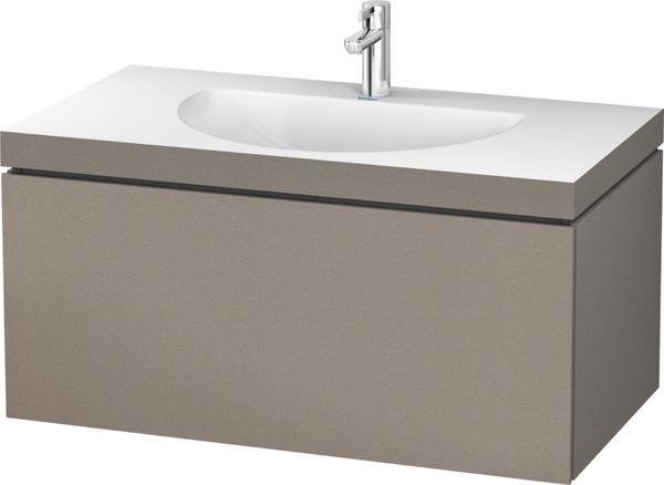 Duravit Darling New Waschtisch mit L-Cube Waschtischunterschrank B: 100 H: 50 T: 54 cm, 1 Auszug terra, ohne Einrichtungssystem, mit 1 Hahnloch LC6901O1414