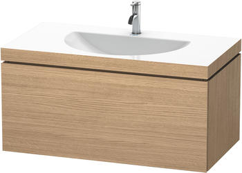 Duravit Darling New Waschtisch mit L-Cube Waschtischunterschrank B: 80 H: 50 T: 54 cm, 2 Auszüge europäische eiche, ohne Einrichtungssystem, mit 1 Hahnloch LC6905O5252