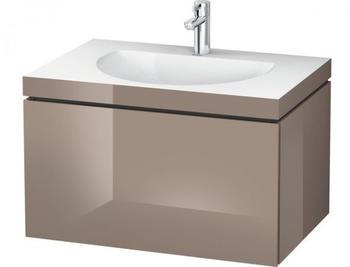 Duravit Darling New Waschtisch mit L-Cube Waschtischunterschrank B: 80 H: 50 T: 54 cm, 2 Auszüge cappuccino hochglanz, ohne Einrichtungssystem, ohne Hahnloch LC6905N8686