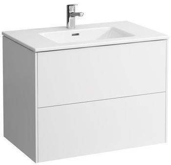 Laufen Pro S Waschtisch mit Base Waschtischunterschrank B: 80 H: 61 T: 50 cm, 2 Auszüge Front weiß mattKorpus weiß matt, 1 Hahnloch H8649612601041
