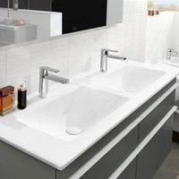 Villeroy & Boch Venticello Schrank-Doppelwaschtisch B: 130 T: 50 cm stone white mit CeramicPlus ohne Überlauf 4111DGRW
