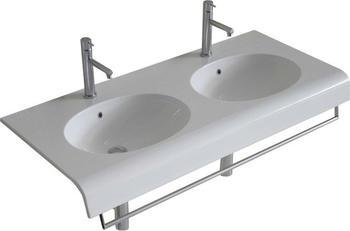 Globo BOWL+ Doppel-Waschtisch 110 T: 50 cm ohne Hahnloch BP110BI