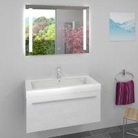 AcquaVapore Waschtisch Waschbecken und Leuchtspiegel BSP09 Unterschrank City 100 100cm Weiss
