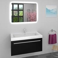 AcquaVapore Waschtisch Waschbecken Leuchtspiegel BSP02 Unterschrank City 100 100cm schwarz