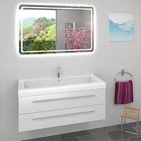 AcquaVapore Waschtisch Waschbecken und Leuchtspiegel BSP13 Unterschrank City 101 120cm Weiss