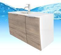 Trendbad24 GmbH & Co KG Waschtisch mit Waschbecken, Unterschrank Gently 1 90cm R weißEiche hell