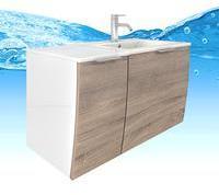 AcquaVapore Waschtisch mit Waschbecken, Unterschrank Gently 1 90cm L weißEiche hell