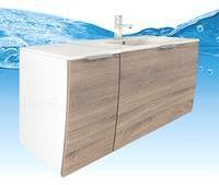 AcquaVapore Waschtisch mit Waschbecken, Unterschrank Gently 1 110cm L weißEiche hell