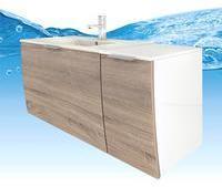 AcquaVapore Waschtisch mit Waschbecken, Unterschrank Gently 1 110cm R weißEiche hell
