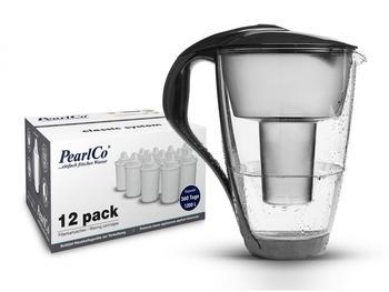 PearlCo Glas-Wasserfilter classic inkl. 12 Filterkartuschen anthrazit