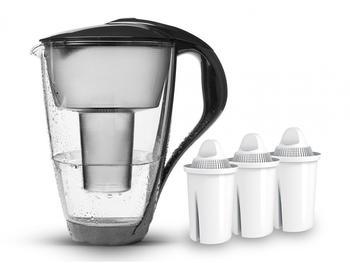 PearlCo Glas-Wasserfilter classic inkl. 3 Filterkartuschen anthrazit