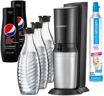 SodaStream Crystal 2.0 Titan Pack Black +3Karaffen+2 Pepsi Light