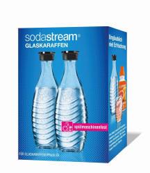 Sodastream SodaStream Glaskaraffe Duo mit schwarzem Deckel je 600ml