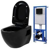 vidaXL Hänge-Toilette mit Unterputzspülkasten Keramik Schwarz