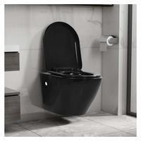 vidaXL Wand-WC ohne Spülrand Keramik Schwarz